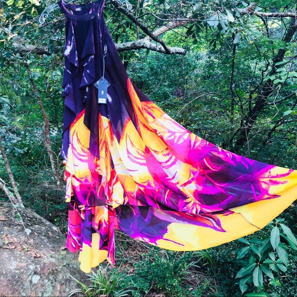 Jennifer Lopez Dresses & Skirts - Jennifer Lopez maxi dress bold print purple SZ M